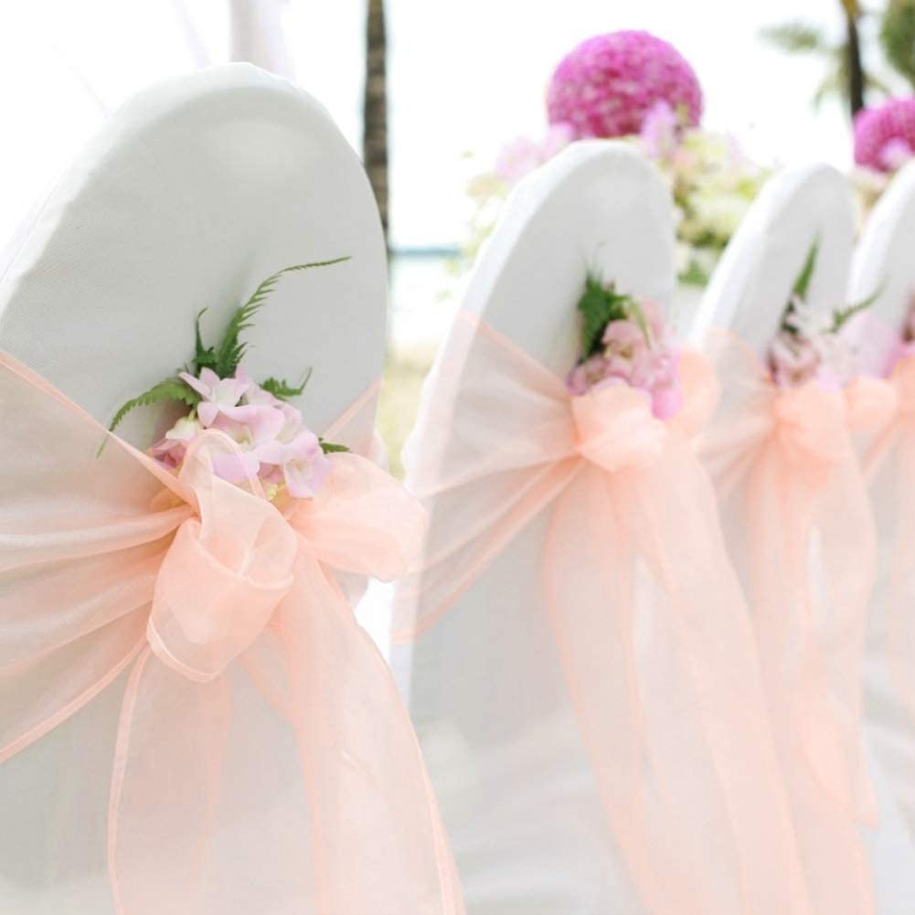 BIT.Fly 100 Pcs Organza Chair Sashes for Wedding Banquet Party Decoration Chair Bows Ties Chair Cover Bands Event Supplies - Peach