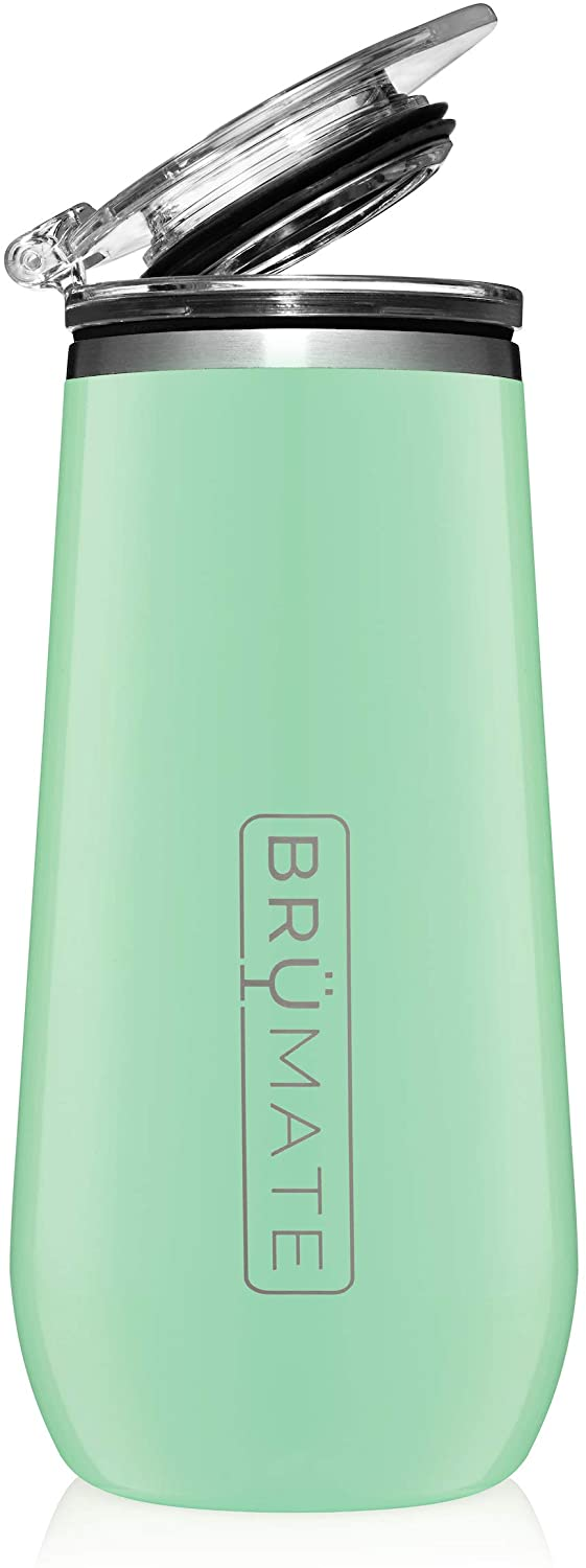 BrüMate 12oz Insulated Champagne Flute With Flip-Top Lid - Made With Vacuum Insulated Stainless Steel (Seafoam)