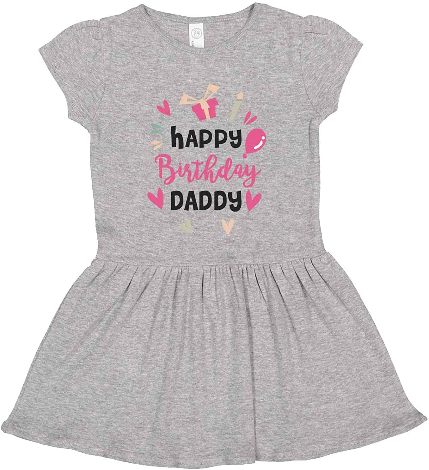 """Funny Threadz Adorable Girls Dress 3 Colors """"Happy Birthday Daddy"""" Kids Casual Toddler Dress"""