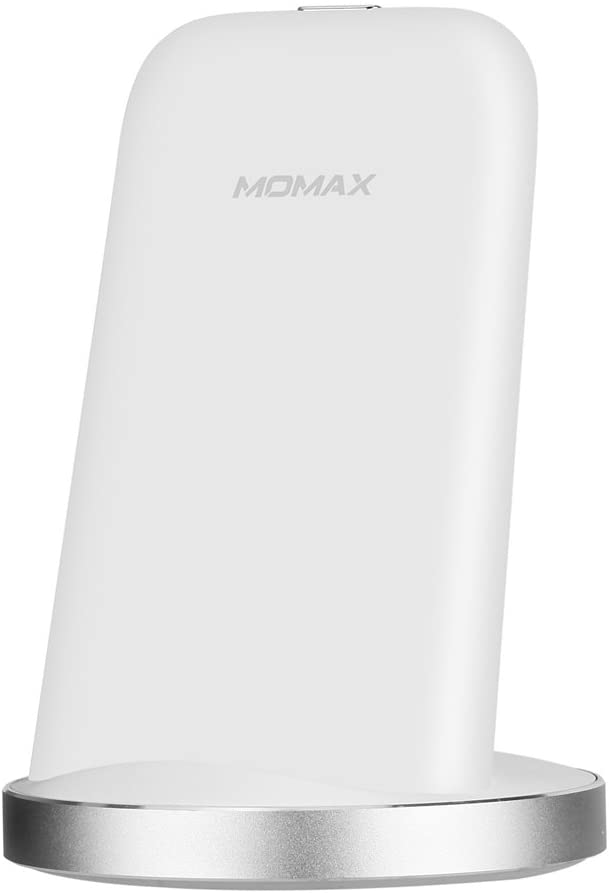 MOMAX Fast Wireless Charger,QC3.0 10W QI Wireless Charging Pad Stand for iPhone X/8/8 Plus, Galaxy Note 8/S8/S8 Plus/S7/S7 Edge/Note 5/S6 Edge Plus,Compatible with All Qi-Enabled Devices (White)