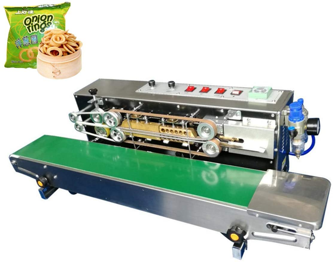 KUNHEWUHUA Automatic Continuous Band Sealer Inflation Nitrogen Film Sealing Machine Band Sealer 110v/220v with Date Coding Steel Printing FRM-980C with Gas Source Outlet Sensor