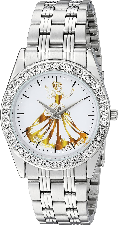 Disney Women's Princess Ariel Analog-Quartz Watch with Stainless-Steel Strap, Silver, 20 (Model: WDS000169)