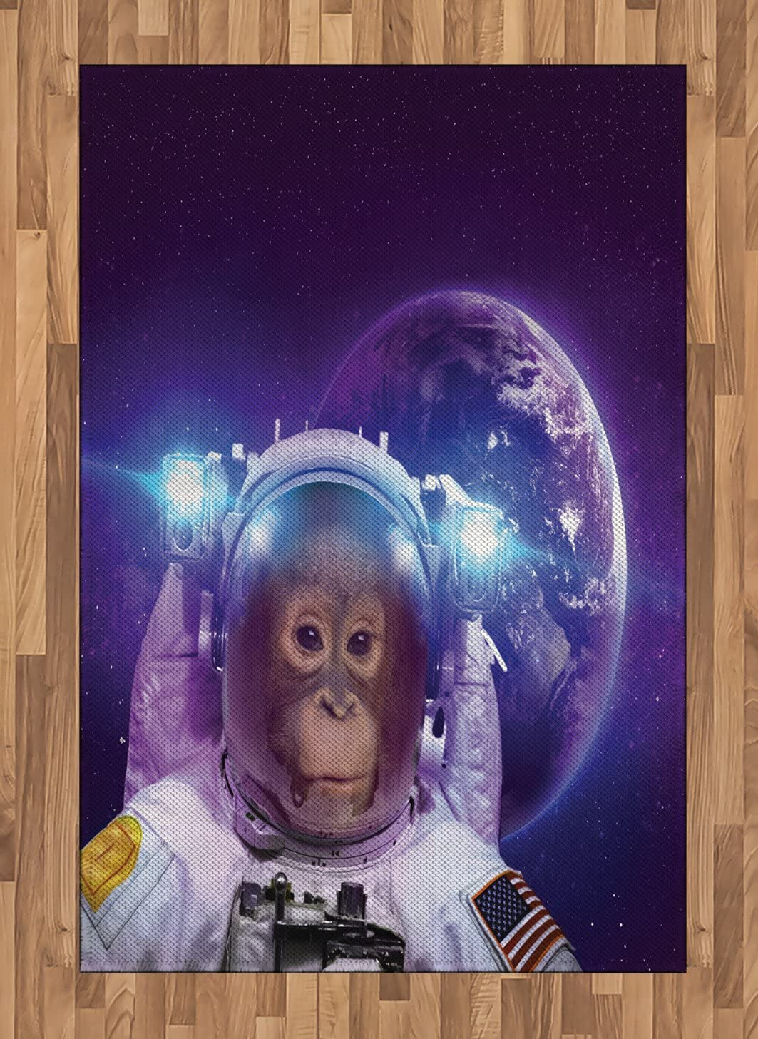 Ambesonne Space Area Rug, Astronaut Monkey on Outer Space with Planet Earth Background Humor Image Print, Flat Woven Accent Rug for Living Room Bedroom Dining Room, 4 X 5.7 FT, Violet White