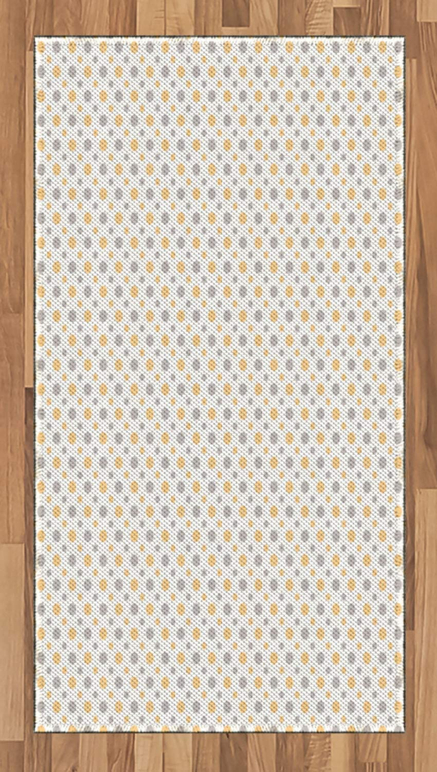 Ambesonne Vintage Area Rug, Big and Small Dots Shabby Colors Simple Retro Style Symmetric Pattern, Flat Woven Accent Rug for Living Room Bedroom Dining Room, 2.6 x 5 FT, Orange White Cadet Blue