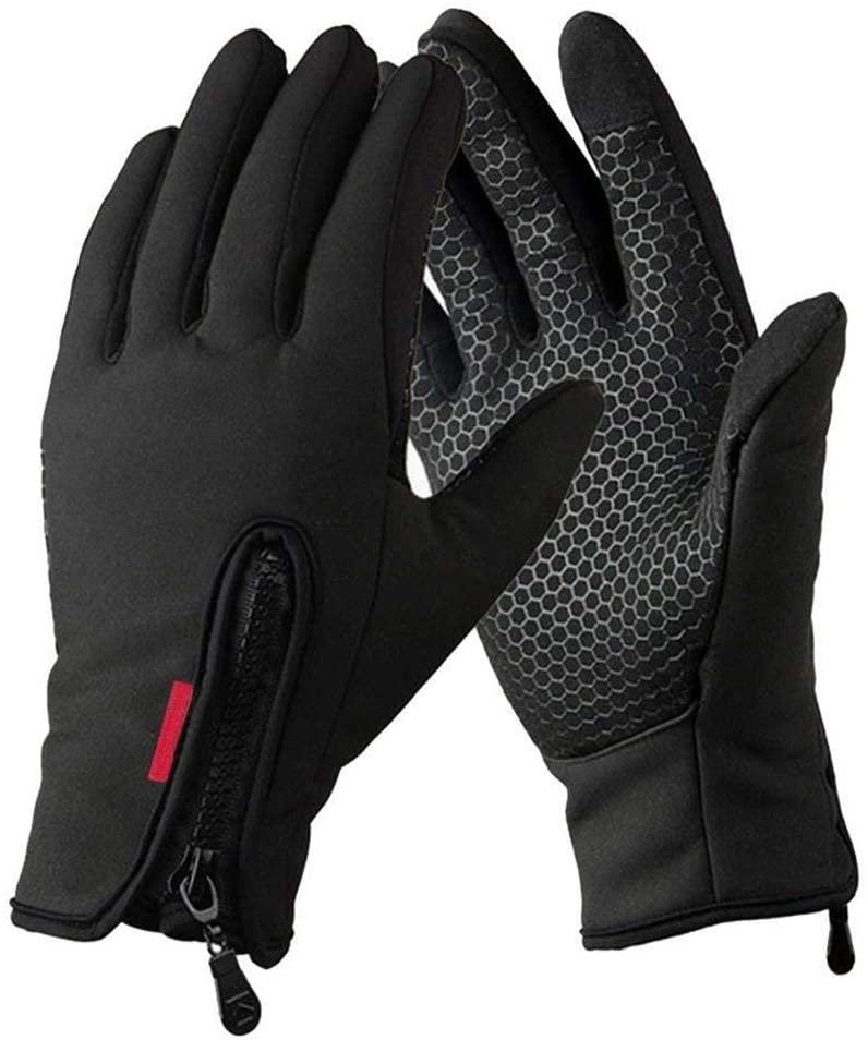 WMOSS Work Gloves Touch Screen Flex Grip Winter Gloves Warm Fleece Driving Gloves Windproof Outdoor For Men Women,Black (Medium)