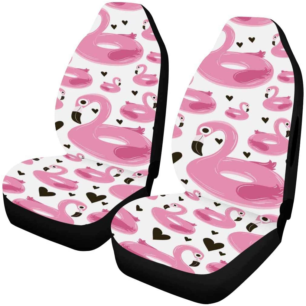 InterestPrint Universal Car Seat Covers Vehicle Seat Protector Airbag Compatible,2 Pcs Pink Flamingos on a Black Background