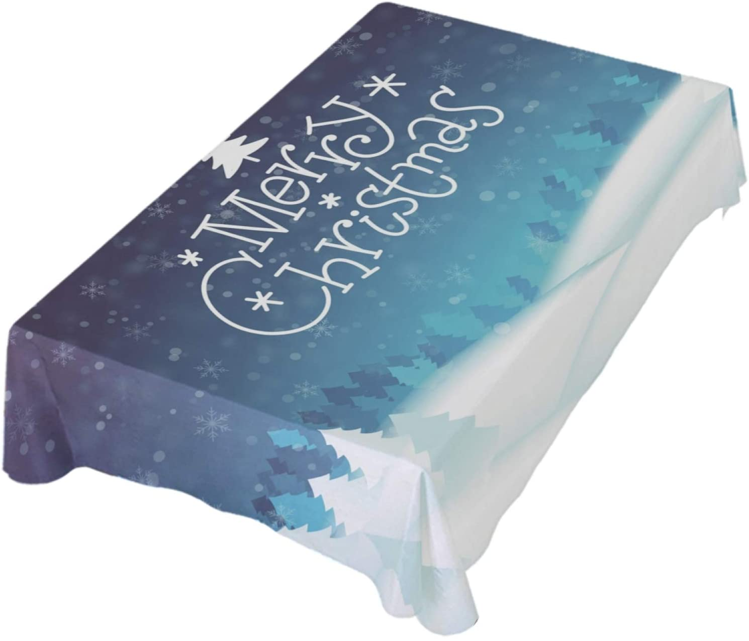 ALAZA Merry Christmas Tree Snow Blue Table Cloth Rectangle 60 x 108 Inch Tablecloth Anti Wrinkle Table Cover for Dining Kitchen Parties