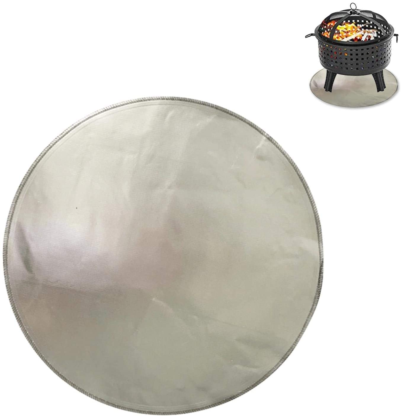 NMSLA 24/36 Inch Round Fire Pit Mat & Grill Mat Deck Protector,Fireproof Grill Pad Washable Terrace Floor Mat-Suitable