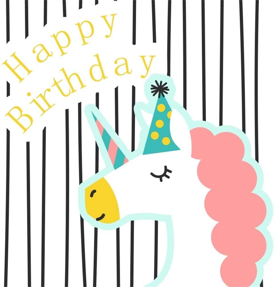 OFILA Happy Birthday Backdrop 5x5ft Unicorn Birthday Photography Background Girls Unicorn Birthday Party Decoration Birthday Banners Digital Video Studio Props