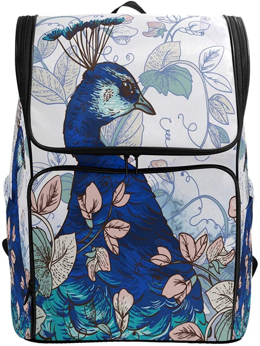 Kaariok Vintage Flowers Peacock Watercolor Backpack Bookbags College Laptop Daypack Travel School Hiking Bag for Womens Mens