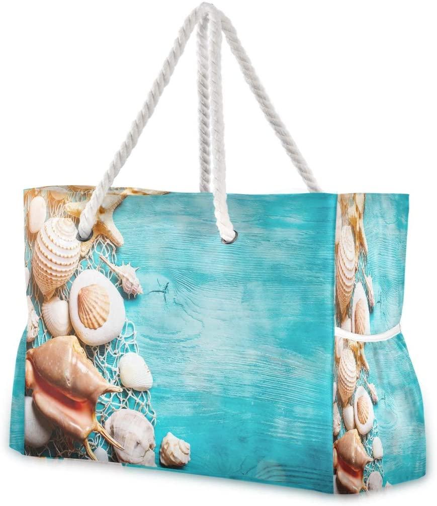 Beach Bag Large Travel Tote Bag Seashells Starfish On Blue Wooden Boards Shoulder Bag luggage bag for Gym Travel Sport