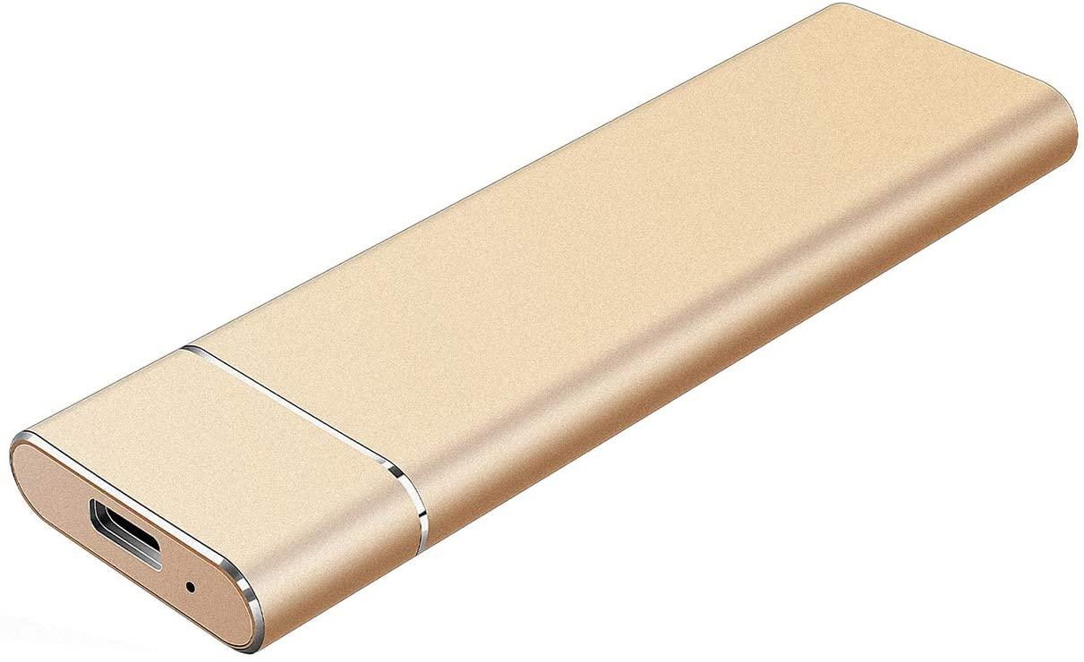 External Hard Drive - Portable Hard Drive 1TB 2TB External Hard Drive Compatible with Mac,PC,Desktop,Laptop - Gold,2TB