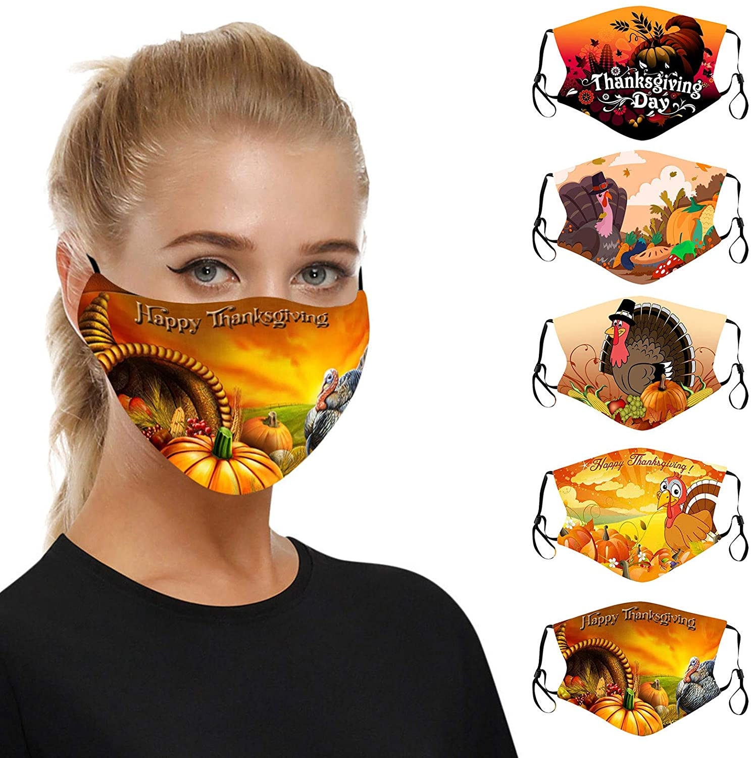 5PCS Thanksgiving Day Cartoon Turkey Face_MASK Adults Face Covering Face Protection for Women and Men, Adjustable Earloops Fashion Outdoor Washable Reusable Filter Pocket Face Bandanas (USA in Stock)