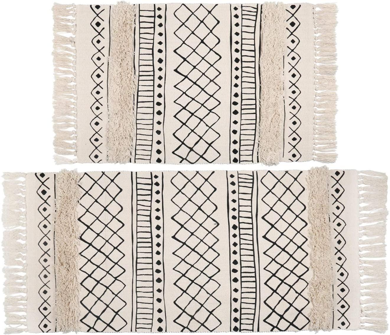 Topotdor Tufted Cotton Area Rug 2 Pieces,Hand Woven Print Boho Tassels Floor Rugs Perfect Bedroom Living Room Hallway Home Decor(2' x 3'+ 2' x 4', White Skyline)