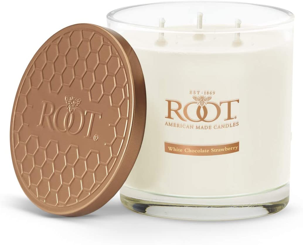 Root Candles 3-Wick Hive Scented Beeswax Blend Candle, 12-Ounce, White Chocolate Strawberry