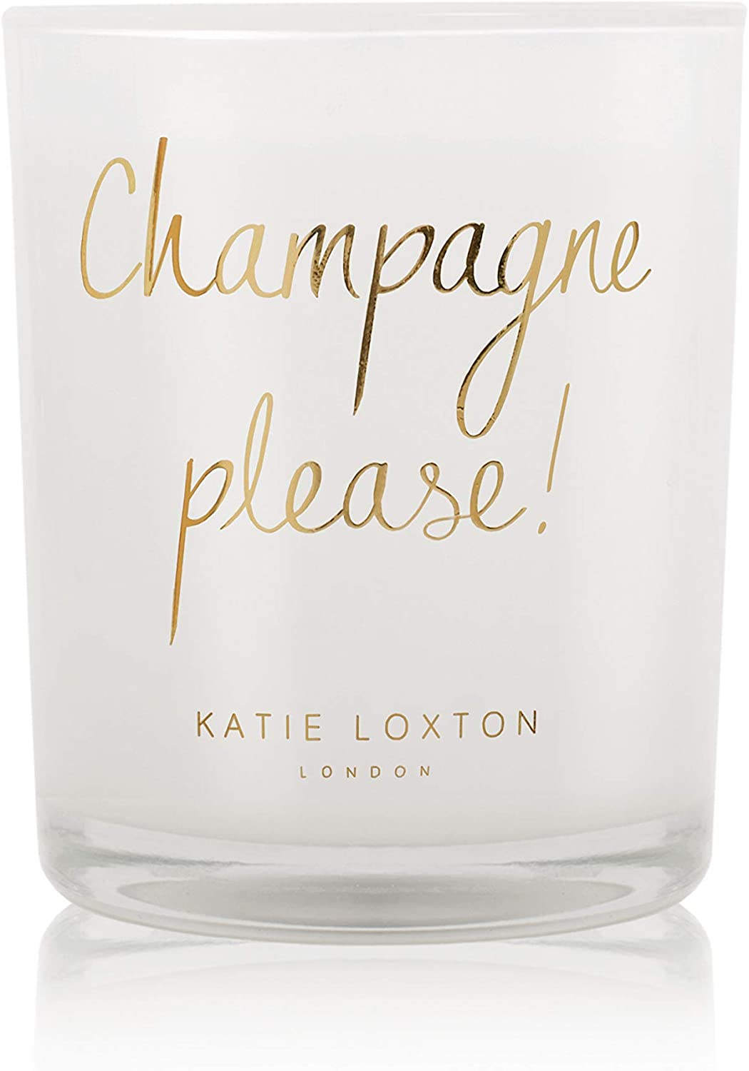 Katie Loxton Champagne Please 5.6 Ounce Soy Wax Metallic Candle Scented Pink Champagne & Sweetheart Strawberry