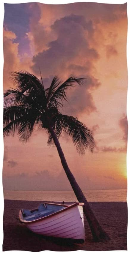 Towels Polyester Cotton Hand Towel for Hotel Spa Bathroom Gym Breathable Strong Absorbent Towel with Palm Tree Beach Boat Single Side Printing, 30 x 15 Inch