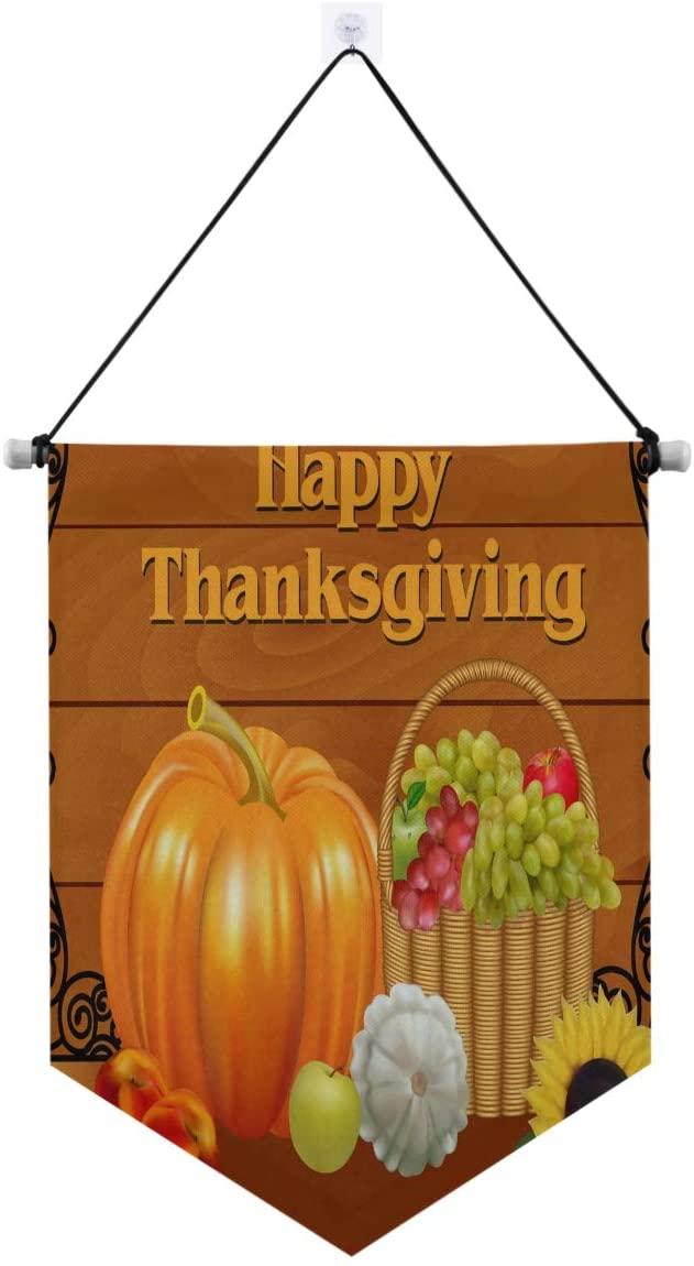 ALAZA Door Decorations, Thanksgiving Day Pumpkin Autumn Banner Sign Door Hanging Wall Decor 13 x 17 Inches
