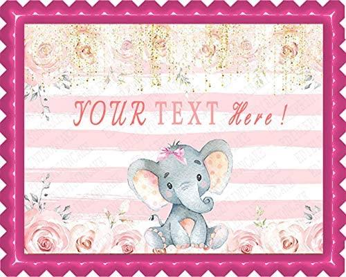 Mocsicka Girl Elephant Baby Shower - Edible Cake Topper - 7.5