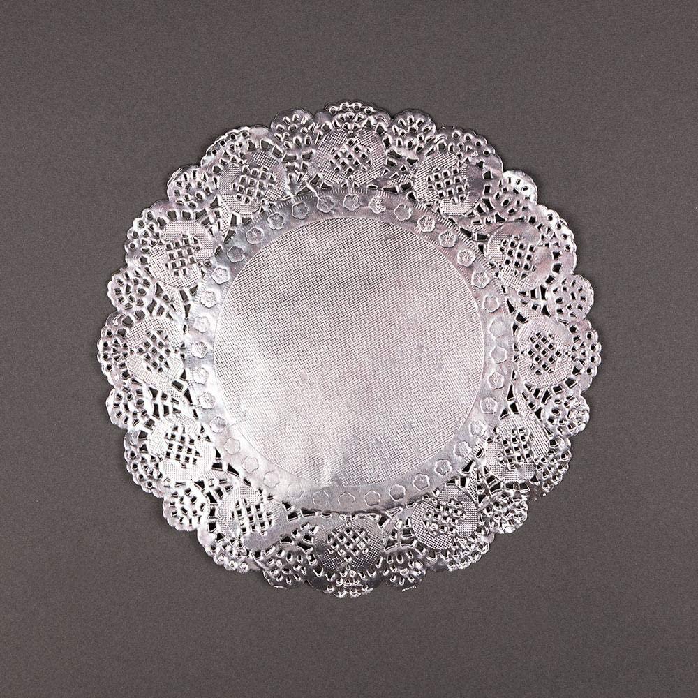 PaperLanternStore.com 8.5 Inch Round Silver Foil Doilies (50 Pack)