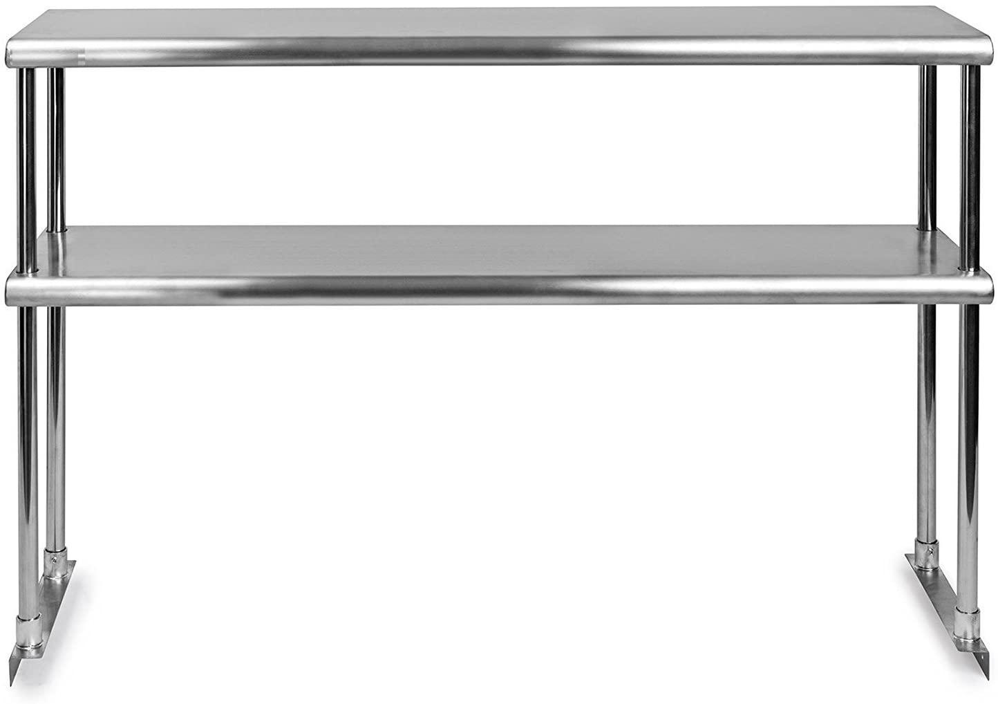 KPS Stainless Steel Double Overshelf for Prep Work Table 18 x 30 - NSF