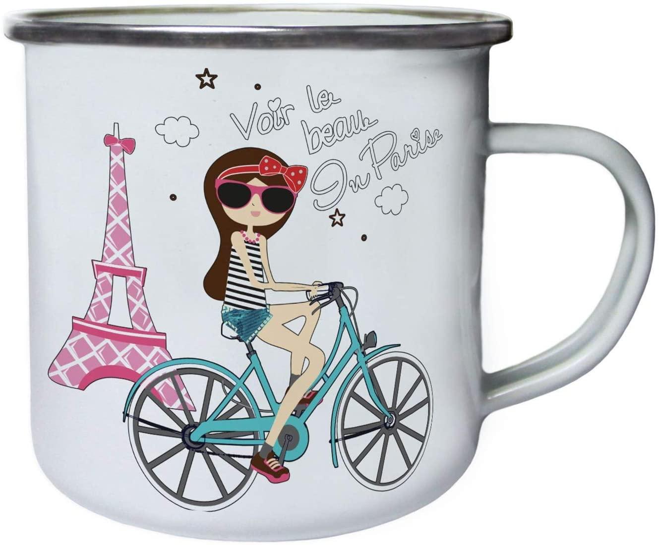 Beauty Of Paris Eiffel Tour Retro,Tin, Enamel 10oz Mug ee406e