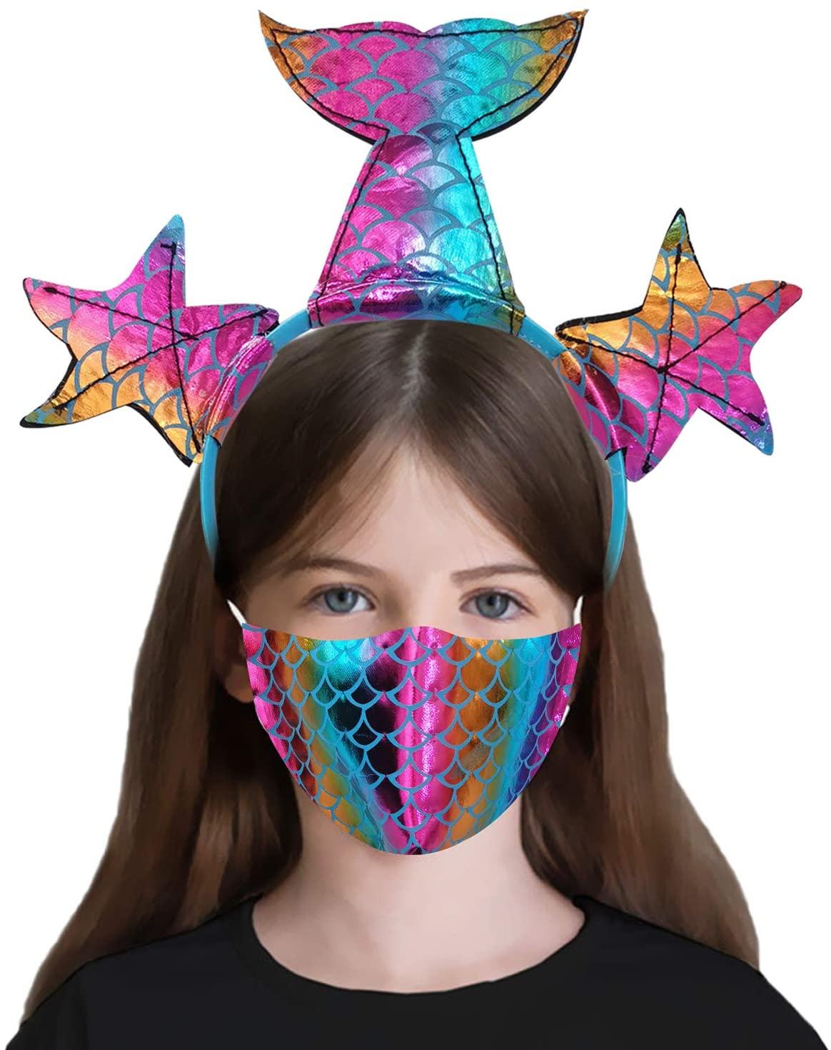 Studio 21 Graphix Breathable Kids Cloth Face Covering with Headbands, Cute Children Washable Glitter Mouth Cover Halloween Masquerade Accessories