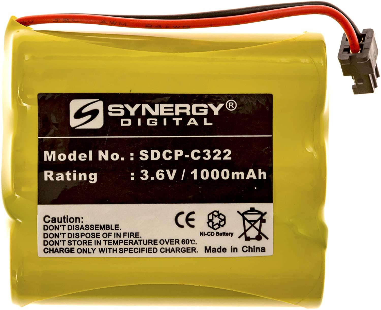 Synergy Digital Cordless Phone Battery, Works with Panasonic KX-TC1733 Cordless Phone, (Ni-CD, 3.6V, 1000 mAh) Ultra Hi-Capacity Battery