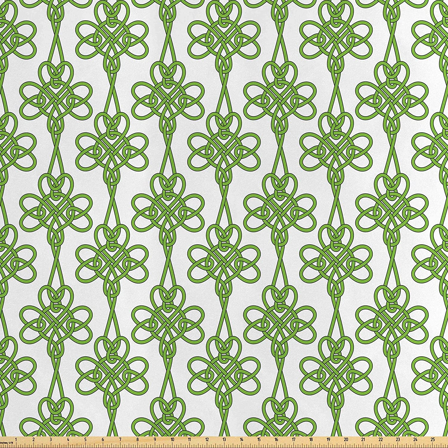 Lunarable Celtic Fabric by The Yard, St. Patrick's Day Theme Celtic Knots Lucky Clover Design Pattern Irish Theme Print, Decorative Satin Fabric for Home Textiles and Crafts, 10 Yards, Green White