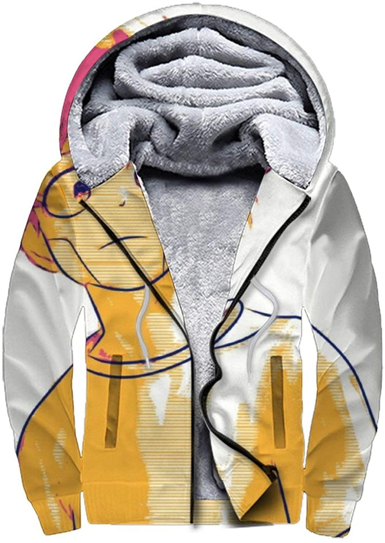 UNSUWU Men's Anime Hoodies Sweatshirt Winter Jacket Fleece Pullover Wool Full Zip Warm Thick Coats, S-3XL