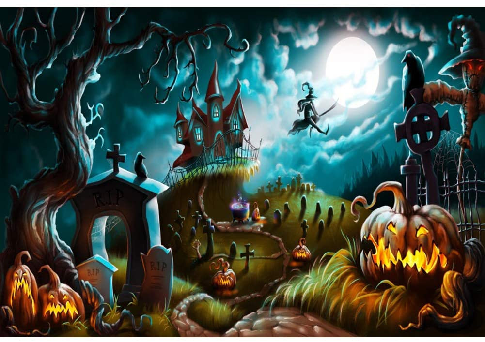 Renaiss 5x3ft Halloween Backdrop Pumpkin Scary Graveyard Castle Night Full Moon Witch Ghost Tree Photography Background Halloween Festival Banner Children Adults Portrait Photo Studio Props
