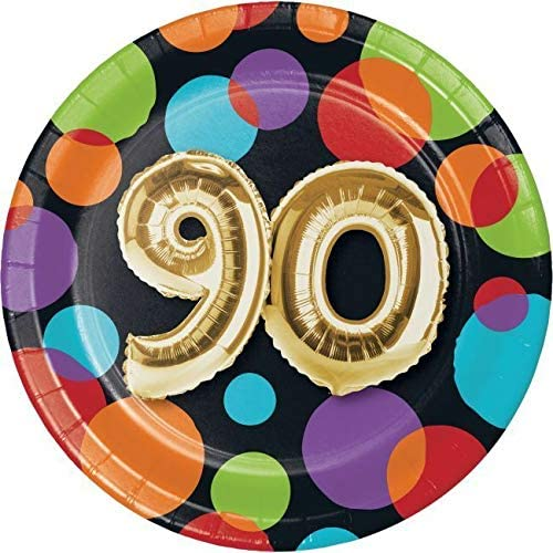 Gold Balloon 90th Birthday 7 Inch Paper Plates 90 Birthday Party Decoration