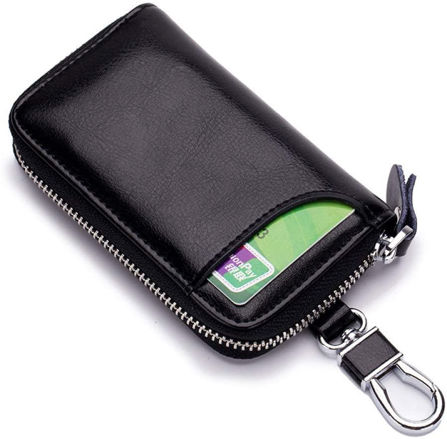 JFZS Leather Key Case Wallet Zipped Key Holder Case with 6 Hooks for Men Women,Coffee