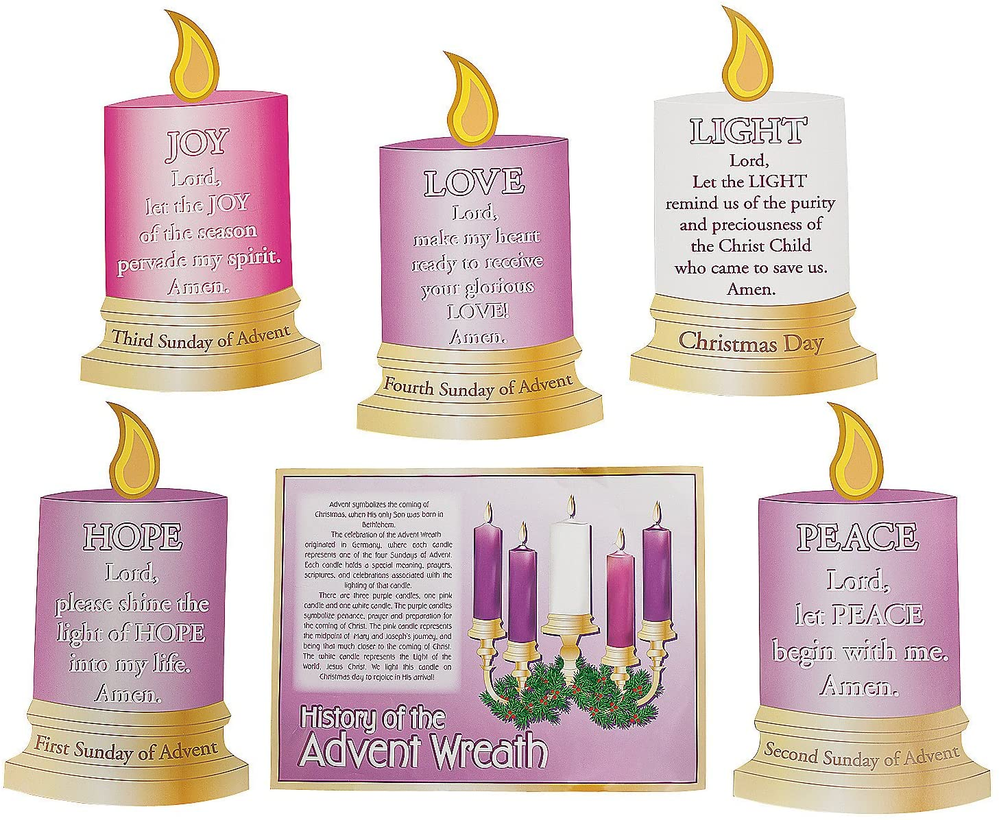 Fun Express Advent Chart Set - 6 Pieces - Educational and Learning Activities for Kids