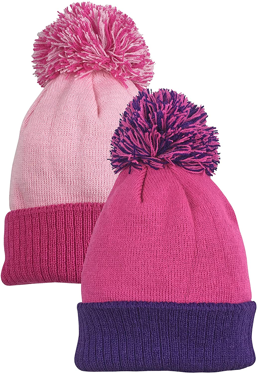 N'Ice Caps Baby Unisex Warm 2 Ply Knit Beanies with Poms - 2 Hat Pack