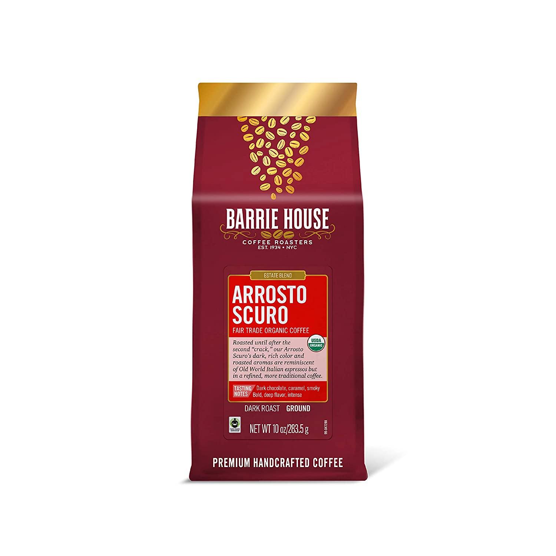 Barrie House Arrosto Scuro Ground Coffee, 10oz Bag | Fair Trade Organic Certified | Dark Roast | Smokey and Bold Flavor| 100% Arabica Coffee Beans