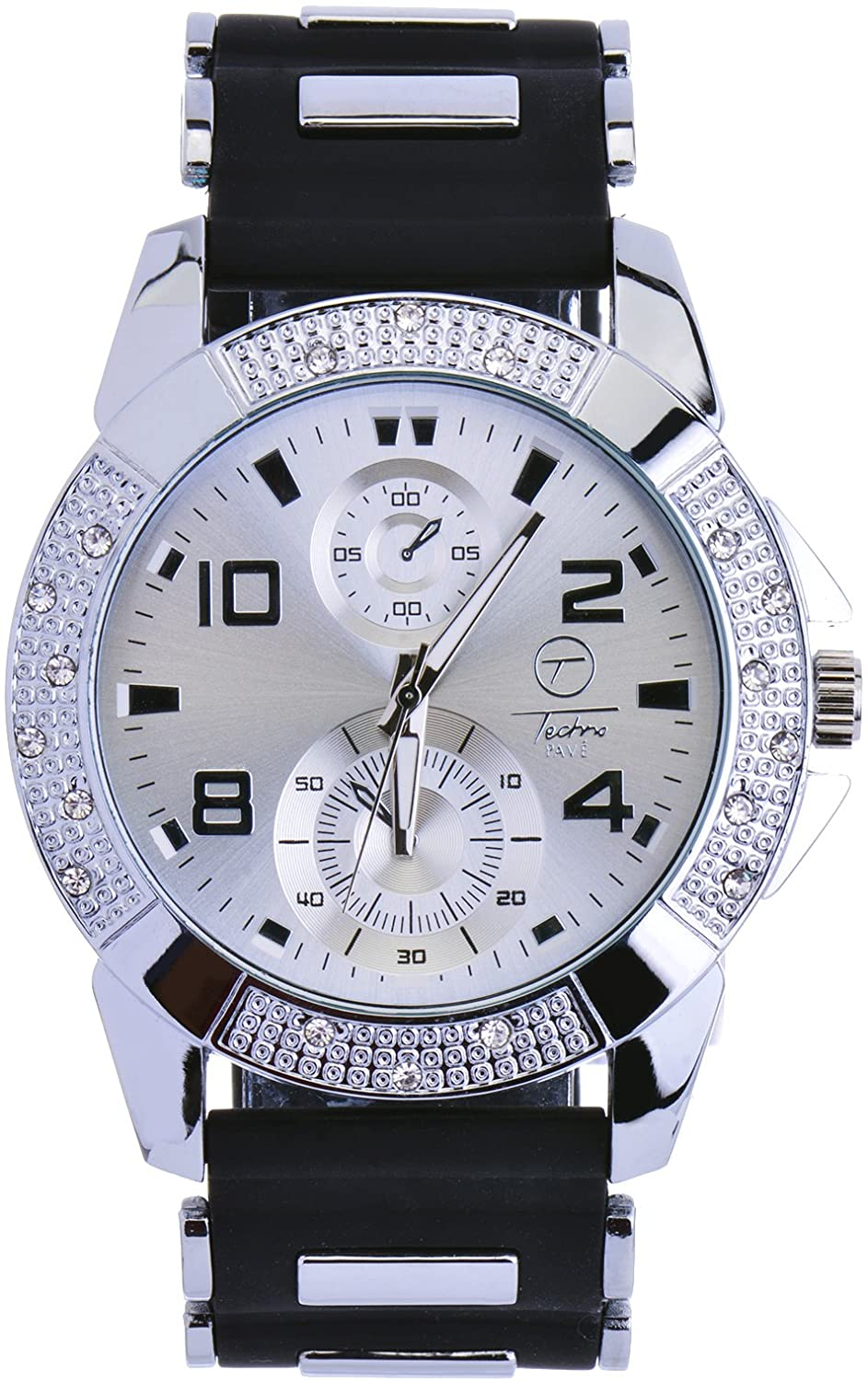 Men's Fashion Hip Hop Bling Iced Out Silver Plated Black Silicon Band Watches WR 8485 SBK