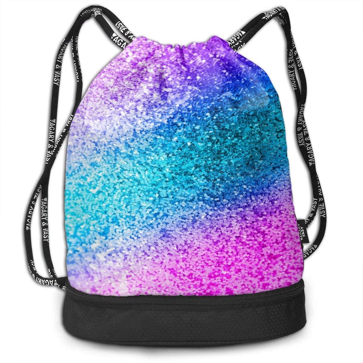 Drawstring Backpack,Glitter Sequin Spot Print Sport Travel Gym Bundle Backpack Bag