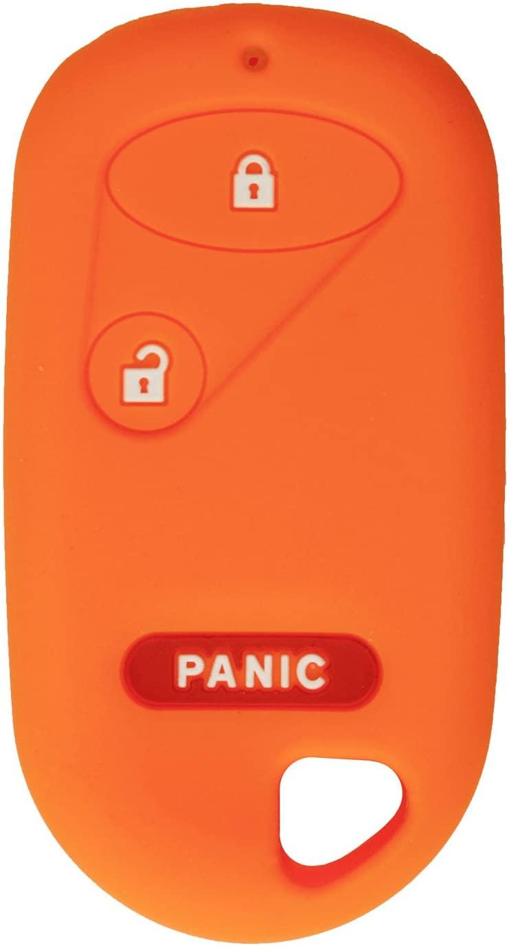 qualitykeylessplus Protective Rubber Silicone Cover for 3 Button Honda Remote Fobs FCC ID: A269ZUA106 / E4EG8DJ / NHVWB1U521 / NHVWB1U523 / OUCG8D-344H-A with Keytag Return Service (Orange)
