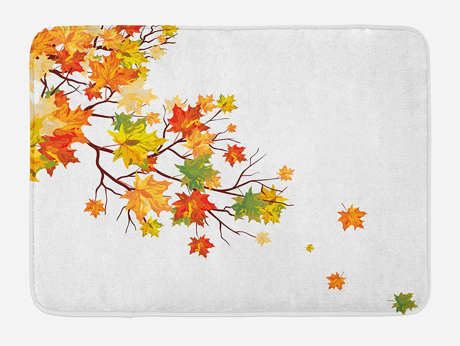 Ambesonne Fall Bath Mat, Fall Image with Canadian Maple Leaves Botanical Foliage Nature Warm to Cold Effects, Plush Bathroom Decor Mat with Non Slip Backing, 29.5