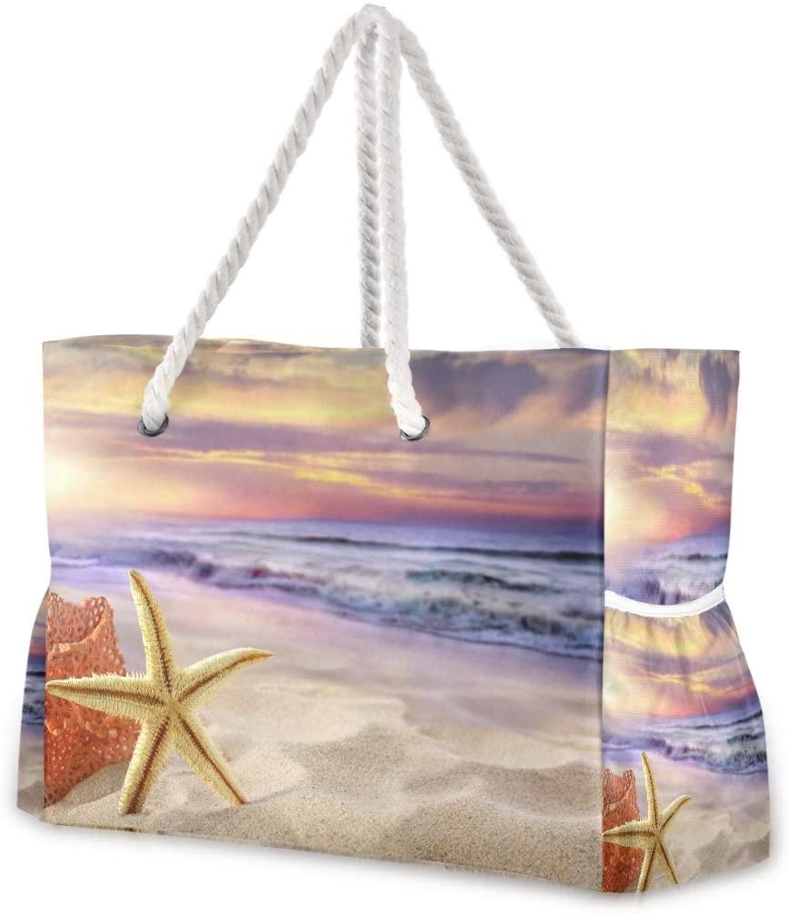 Beach Bag Sea Star Large Travel Tote Bag Shoulder Bag luggage bag for Gym Travel Sport