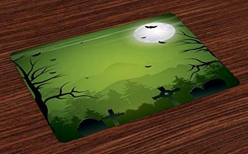 Lunarable Halloween Place Mats Set of 4, Tombstones Cemetery Full Moon and Bats on Green Toned Backdrop, Washable Fabric Placemats for Dining Room Kitchen Table Decor, Lime Green Charcoal Grey Grey