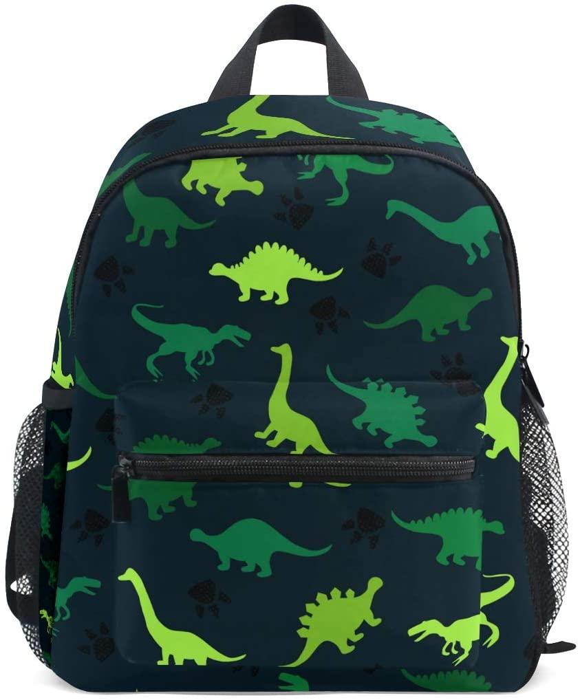 OREZI Dinosaur Green Cartoon Kids Backpack,Toddler Schoolbag Preschool Bag Travel Bacpack for Little Boy Girl