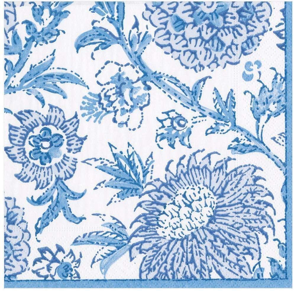 Caspari Indiennes Paper Dinner Napkins in Blue - Four Packs of 20