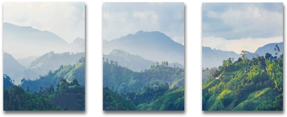 Foggy Forest Wall Art Painting Landscape Canvas Mountain Pictures Wall Decor Canvas Tree Art Print Modern Poster Contemporary Prints for Wall Decor Green Forest Art Nordic for Home Decor Framed