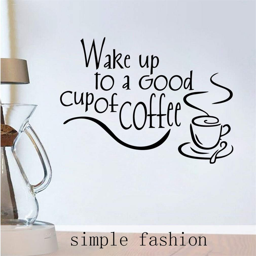 Wake up to a Good Cup of Coffee (White) Wall Decals,Vinyl Removable PVC Stickers Decor for Home Bedroom Living Room Decoration 13.8×9.8 in