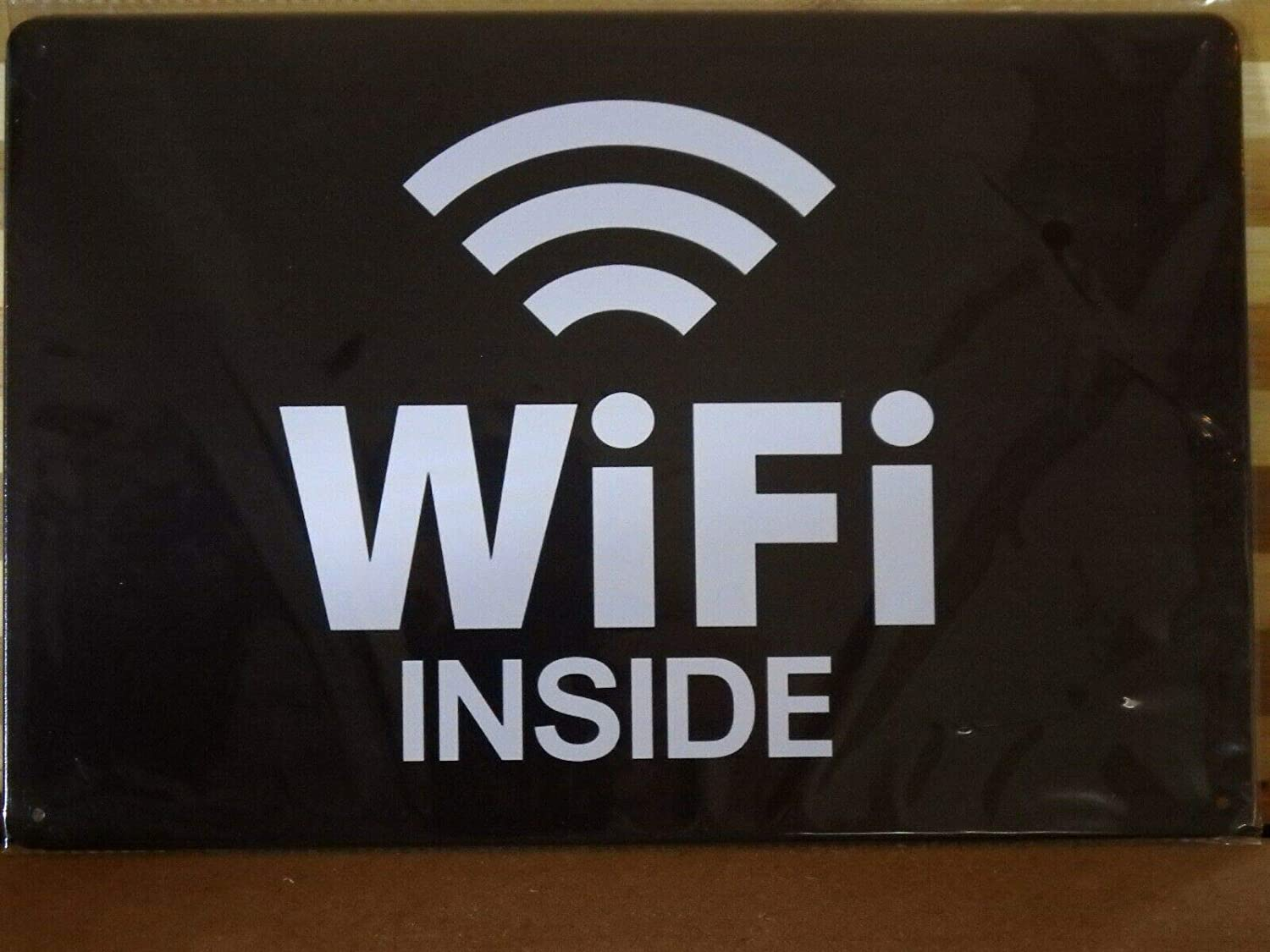 WiFi Inside Rustic Metal Sign Vintage Tin Shed Garage Bar Man Cave Wall Plaque