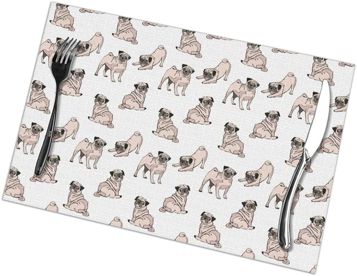 NiYoung PVC Woven Place Mats Set of 6 Table Mats - Durable Heat Resistant Non-Slip Fashion Printing Table Mats - Decorate Placemat for All Occasions (Cute Dogs Pug Pattern Pattern)