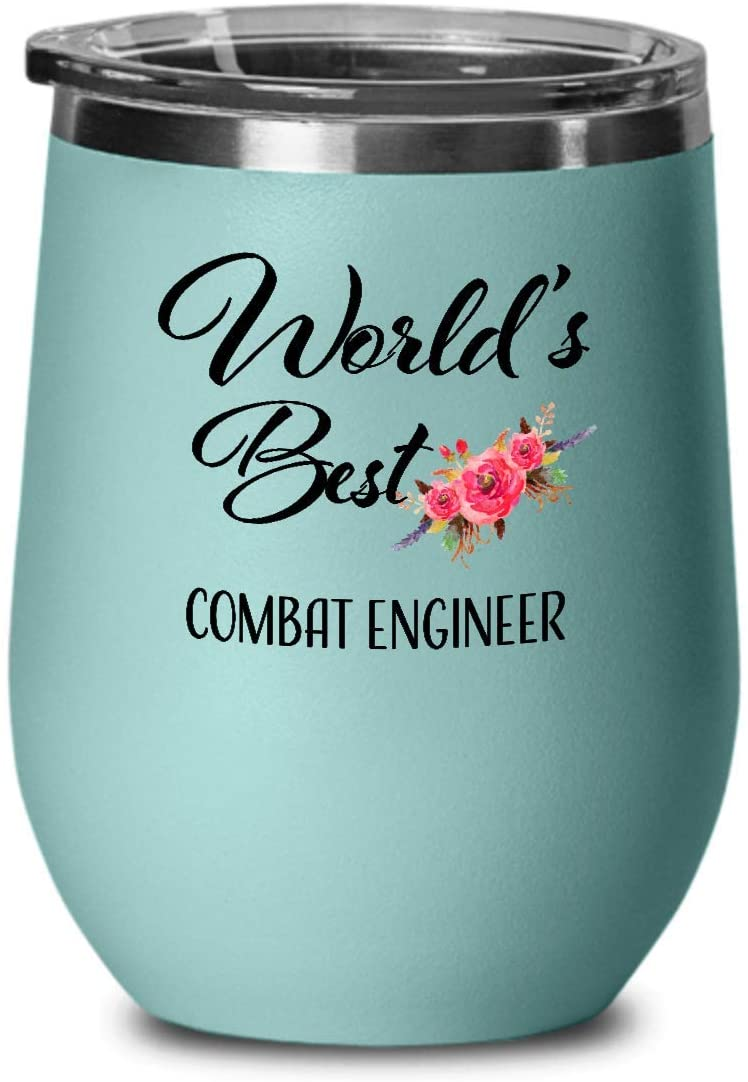 Best Combat Engineer Wine Tumbler - Thank You Retirement Birthday Christmas Farewell Appreciation Graduation - Gift for Men Women Coworker Friend - Wine Glass with Lid - Teal