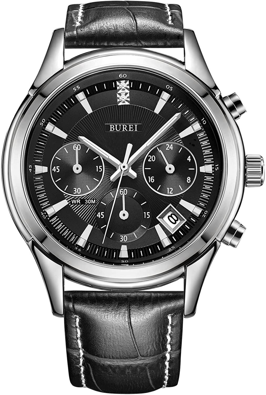 BUREI Men's Elegant Chronograph Watch Brown Leather Strap Business Luxury Sport